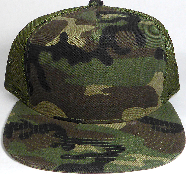 f86dab1d Wholesale Mesh Trucker 5 Panel Snapback Blank Hats - Solid - Camo. Solid  Trucker Mesh Hat
