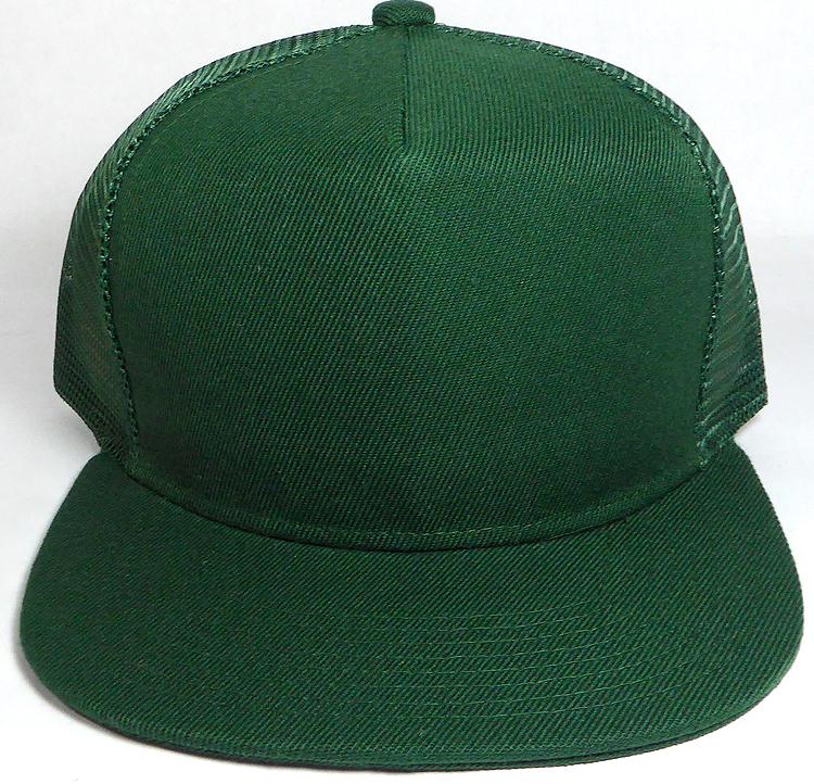 43087658 Wholesale Mesh Trucker 5 Panel Snapback Blank Hats - Solid - Dark Green