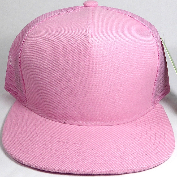 f52cd0c666503 Wholesale Mesh Trucker 5 Panel Snapback Blank Hats - Solid - Light Pink