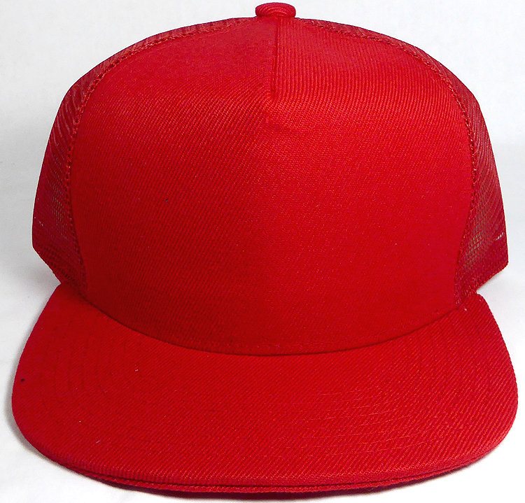 97000c79 Wholesale Mesh Trucker 5 Panel Snapback Blank Hats - Solid - Red. Solid  Trucker Mesh Hat