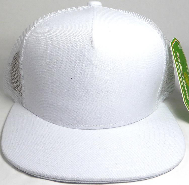 Wholesale Mesh Trucker 5 Panel Snapback Blank Hats - Solid