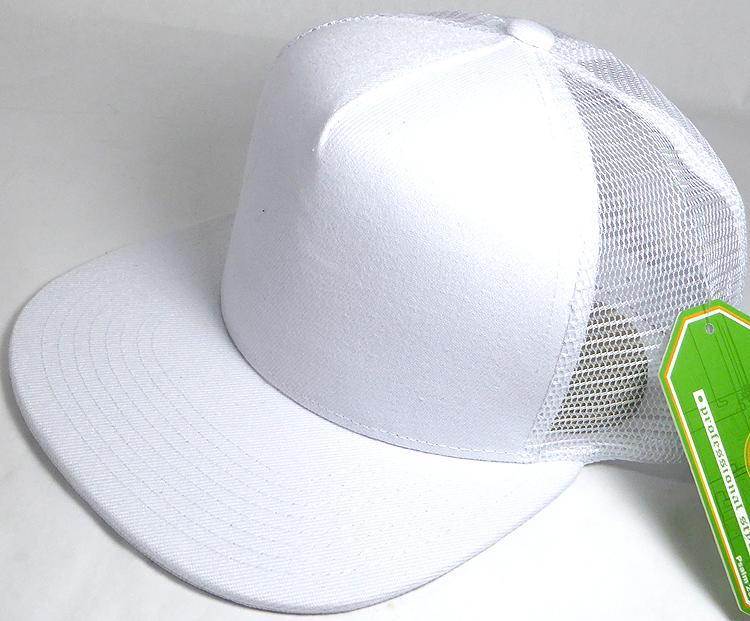 b13cfaf6bfc Wholesale Mesh Trucker 5 Panel Snapback Blank Hats - Solid - White. Solid  Trucker Mesh Hat