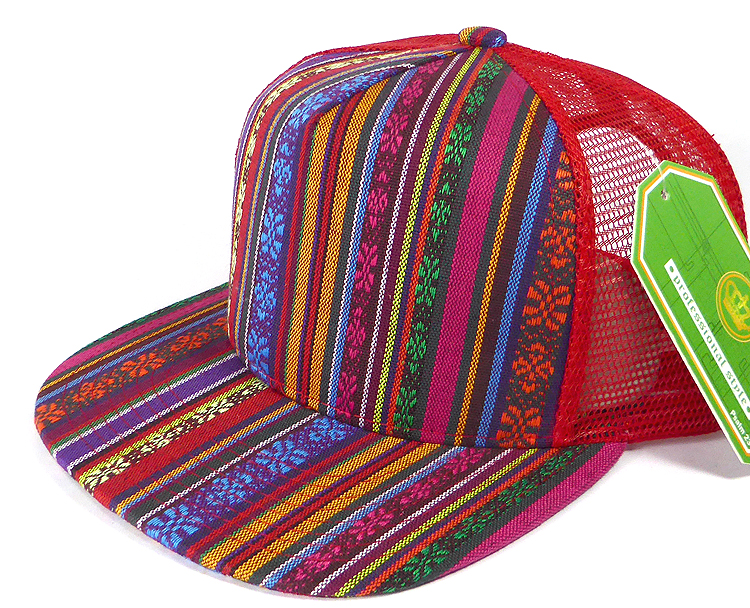 c45a0339 Wholesale Mesh Trucker 5 Panel Snapback Hats - Aztec - Red Stripe. Aztec  Trucker Snapback