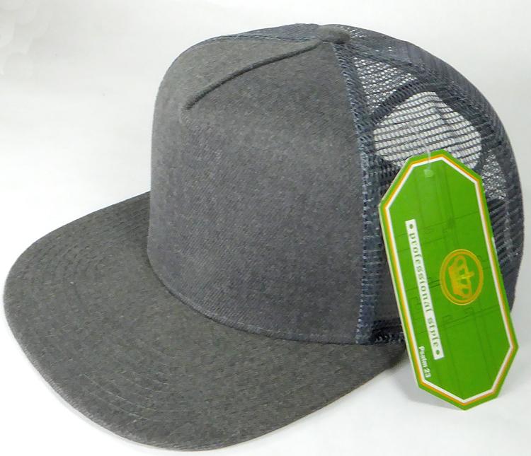 Wholesale Mesh Trucker 5 Panel Snapback Blank Hats - Denim Charcoal Gray