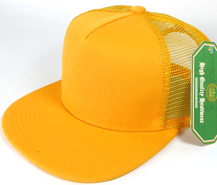 Wholesale Mesh Trucker 5 Panel Plain Snapback Hats - Gold Yellow 96fae9992af
