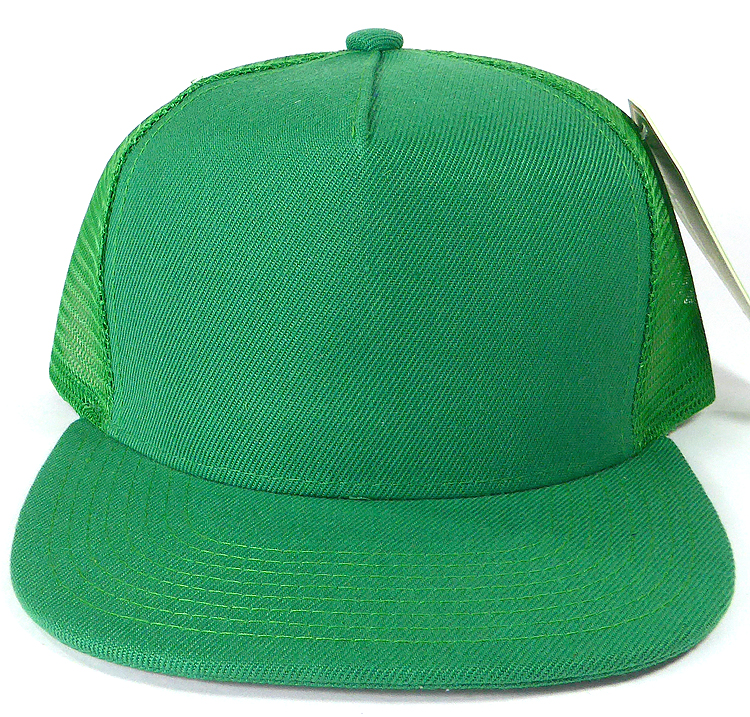 Wholesale Mesh Trucker 5 Panel Plain Snapback Hats - Kelly Green 1a5e2f00b9f