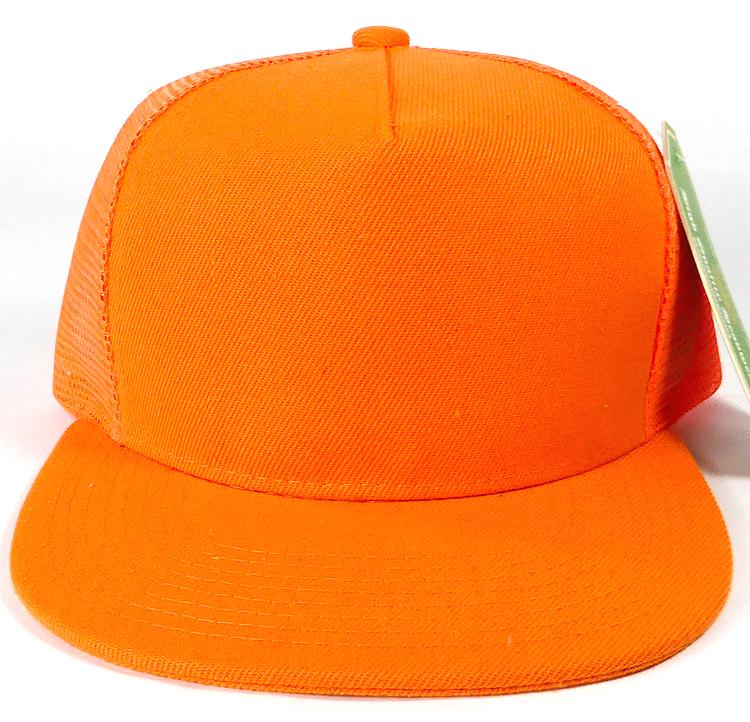 Wholesale Mesh Trucker 5 Panel Plain Snapback Hats - Orange 1eec5733612