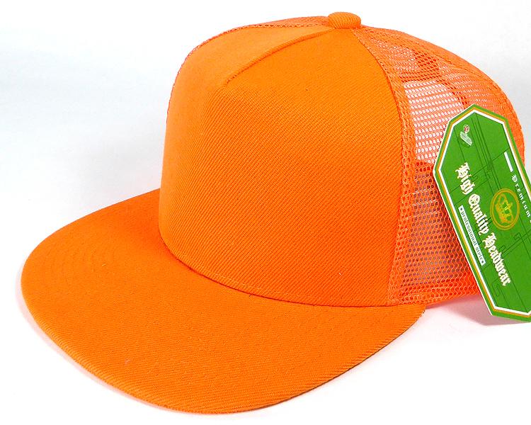 Wholesale Mesh Trucker 5 Panel Plain Snapback Hats - Orange 5e8eddc243b5