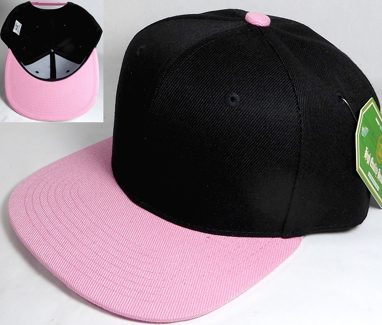 8c377a80ee2ff1 Wholesale Blank Snapback Hats & Caps Two Tone - Black | Light Pink