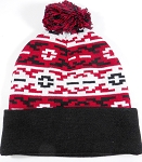 Wholesale Pom Pom Aztec Sideline Beanie - Red | Black