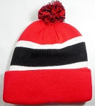 Wholesale Pom Pom Winter Beanies - Red Black