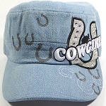 Wholesale Rhinestone Cowgirl Bling Cadet Hats - Light Denim