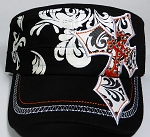 Wholesale Rhinestone Cadet Hats - Pointy Cross - Black