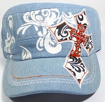 Wholesale Rhinestone Cadet Hats - Pointy Cross - Light Denim