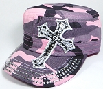 Wholesale Rhinestone Cadet Hat - Cross - Pink Camo