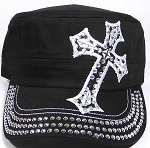 Wholesale Rhinestone Cadet Hat - Cross - Black