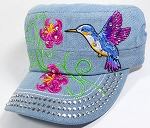 Wholesale Rhinestone Hummingbird Castro Hat - Light Denim