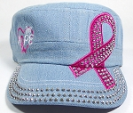 Wholesale Rhinestone Pink Ribbon Castro Hats - Hope - Light Denim
