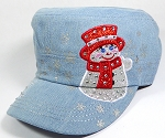 Wholesale Rhinestone Winter Snowman Fashion Cadet Hats - Light Denim