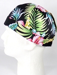 Brimless Docker Cap Wholesale - Hawaiian Hibiscus Floral - Black