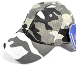 Washed 100% Cotton Plain Baseball Cap - Gold Metal Buckle - City Camo
