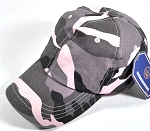 Washed 100% Cotton Plain Baseball Cap - Gold Metal Buckle - Pink Camo