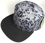 Wholesale Blank Snapback Hats - Black Gray Paisley - Black Brim