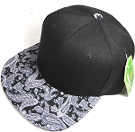 Wholesale Blank Snapback Hats - Black Gray Paisley - Black Crown