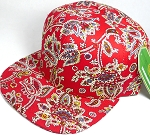 Wholesale Blank Snapback Hats - Red Paisley - Solid