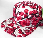 Wholesale Floral Rosebud Blank Snapback Caps - Red - Solid