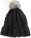 Wholesale Winter Fashion Fur Pom Pom Knit Beanie - Black