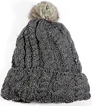 Wholesale Winter Fashion Fur Pom Pom Knit Beanies - Charcoal Gray