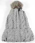 Wholesale Winter Fashion Fur Pom Pom Knit Beanie - Light Gray