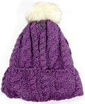 Wholesale Winter Fashion Fur Pom Pom Knit Beanie - Purple