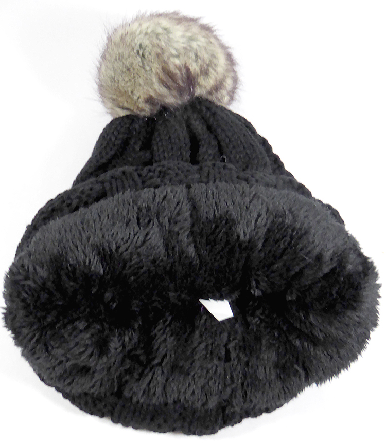 7950f4feaf8 Wholesale Winter Fashion Fur Pom Pom Knit Beanie - Black