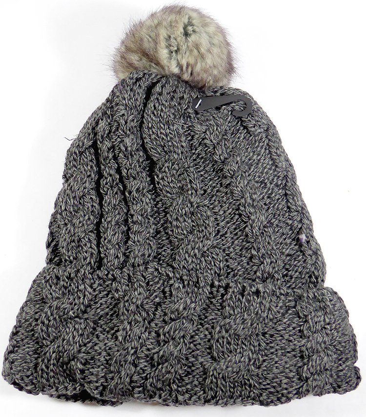 862e45503fc Wholesale Winter Fashion Fur Pom Pom Knit Beanies - Charcoal Gray