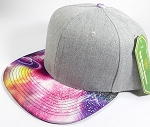 Wholesale Light Grey Denim Snapback Cap - Galaxy - Planets