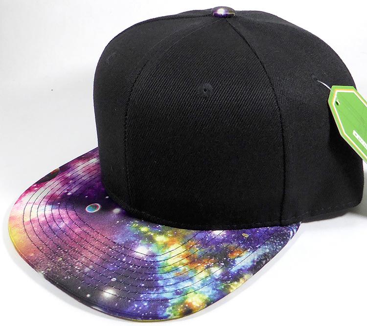Wholesale Snapback Hats - Galaxy Planets - Black Crown