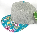Wholesale Light Grey Denim Snapback Cap - Floral - Turquoise Rose