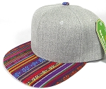 Wholesale Light Grey Denim Snapback Cap - Aztec - Red Stripes