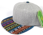 Wholesale Light Grey Denim Snapback Cap - Aztec - Circles