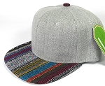 Wholesale Light Grey Denim Snapback Cap - Aztec - Quilt Stripe