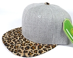 Wholesale Light Grey Denim Snapback Cap - Leopard