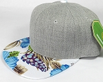 Wholesale Light Grey Denim Snapback Cap - Hawaiian Hibiscus - Blue