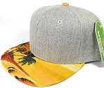 Wholesale Light Grey Denim Snapback Cap - Beach - Yellow Red