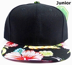 KIDS Jr. Snapback Hats Wholesale - Black Hawaiian Hibiscus - Black Top