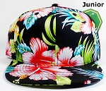 KIDS Jr. Snapback Hats Wholesale - Black Hawaiian Hibiscus - Solid