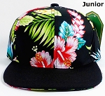 KIDS Jr. Snapback Hats Wholesale - Black Hawaiian Hibiscus - Black Brim