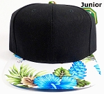 KIDS Jr. Snapback Caps Wholesale - White|Blue Hawaiian Hibiscus - Black Top