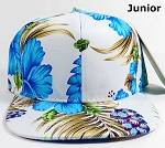 KIDS Jr. Snapback Caps Wholesale - White|Blue Hawaiian Hibiscus - Solid